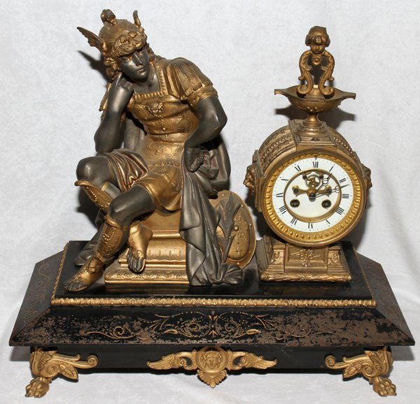 041050: FRENCH SPELTER FIGURAL MANTEL CLOCK LATE 19TH C