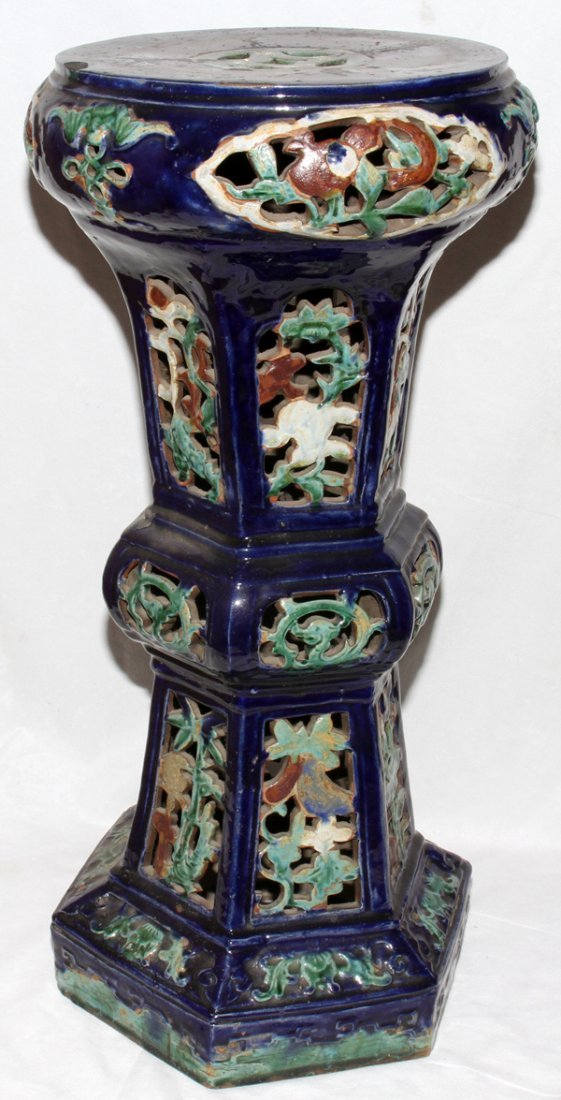 """041071: CHINESE POTTERY PEDESTAL LATE 19TH C. 30"""""""