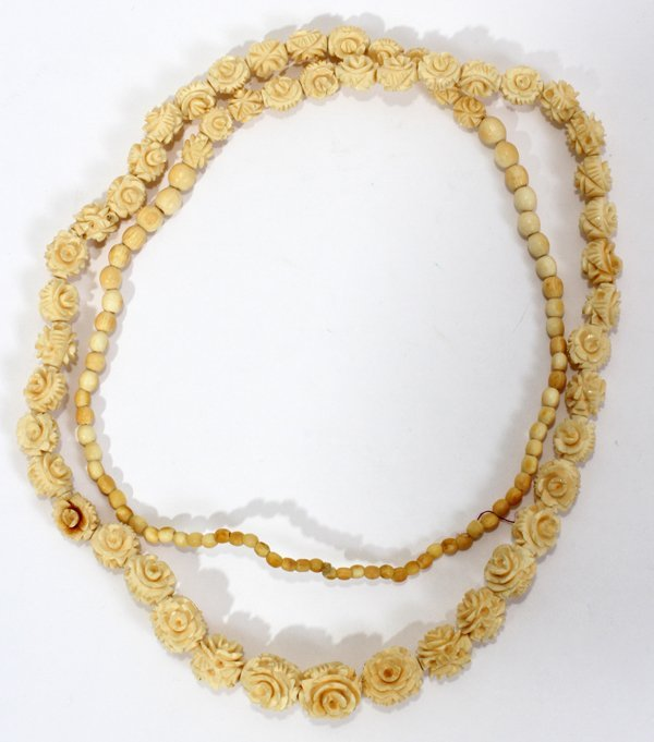 """041393: CHINESE CARVED IVORY BEAD NECKLACE 32"""""""