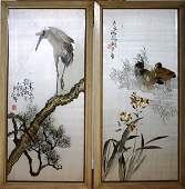 041428 JAPANESE  SILK EMBROIDERIES TWO