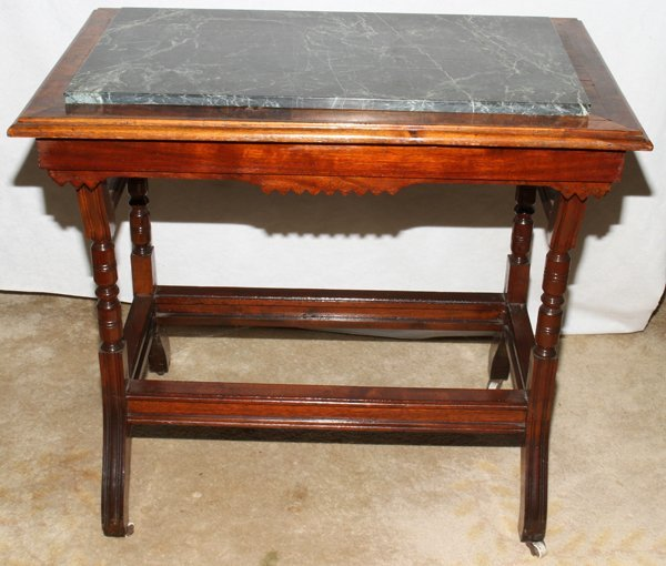 041512: EASTLAKE STYLE BURL WALNUT TABLE W/MARBLE TOP