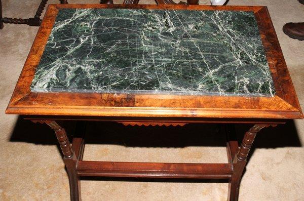041512: EASTLAKE STYLE BURL WALNUT TABLE W/MARBLE TOP - 2