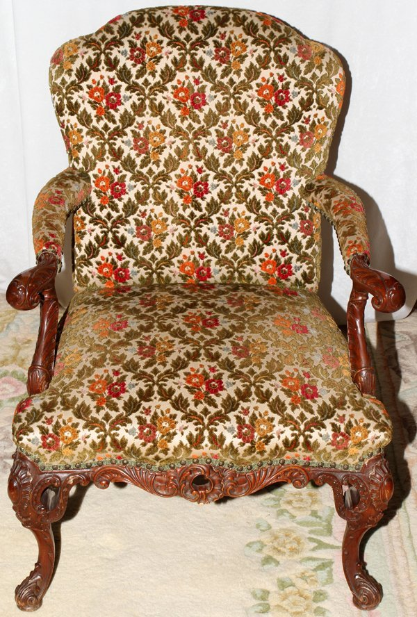 041535: FRENCH STYLE CARVED MAHOGANY ARMCHAIR C. 1920