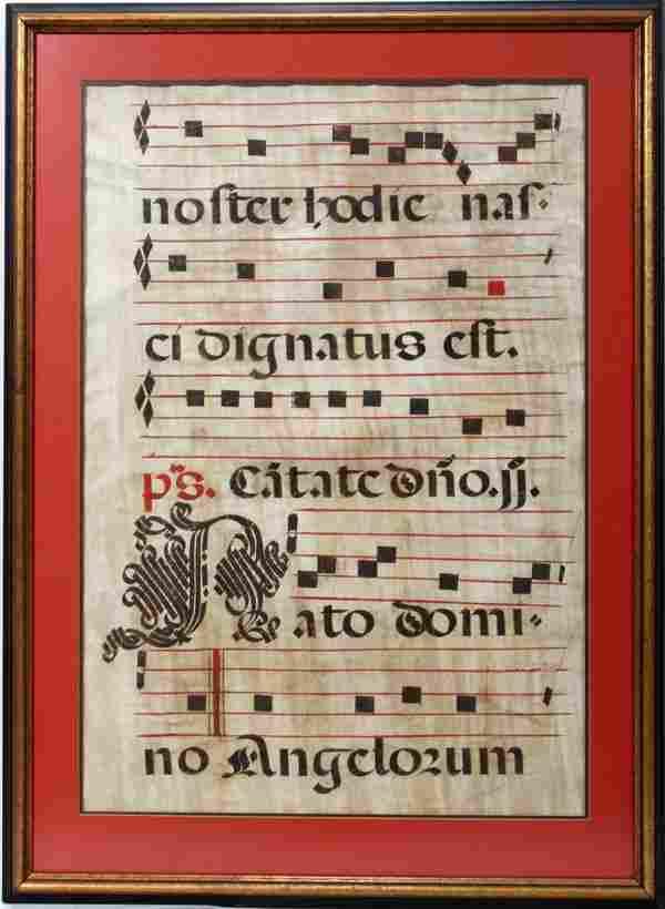 ANTIPHONAL LEAF,ILLUM. MUSIC PAGE ON VELLUM