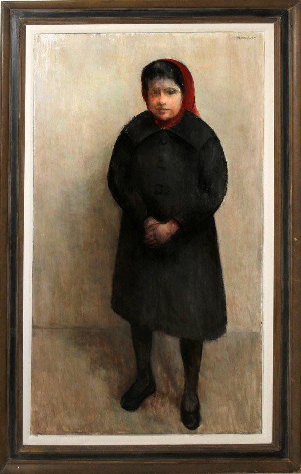 042011: CHERNEY MARVIN OIL/CANVAS, GIRL IN RED KERCHIEF