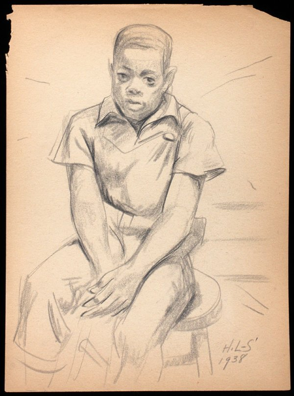 042014: HUGHIE LEE-SMITH PENCIL DRAWING, 1938,  BOY