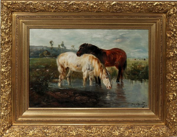 042022: SCHOUTEN HENRI OIL ON CANVAS,  HORSES
