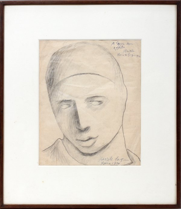 042027: FAZZINI PERICLE  PENCIL ON PAPER,  ROMA 1930,