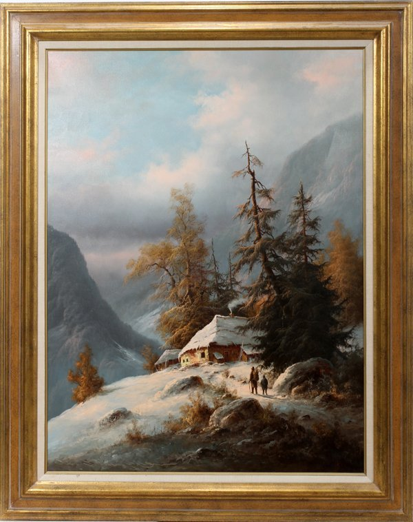 042031: MUNINGER, LUDWIG OIL/CANVAS ALPINE WINTER SCENE