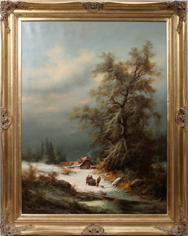 042032: MUNINGER, LUDWIG OIL/CANVAS ALPINE WINTER SCENE