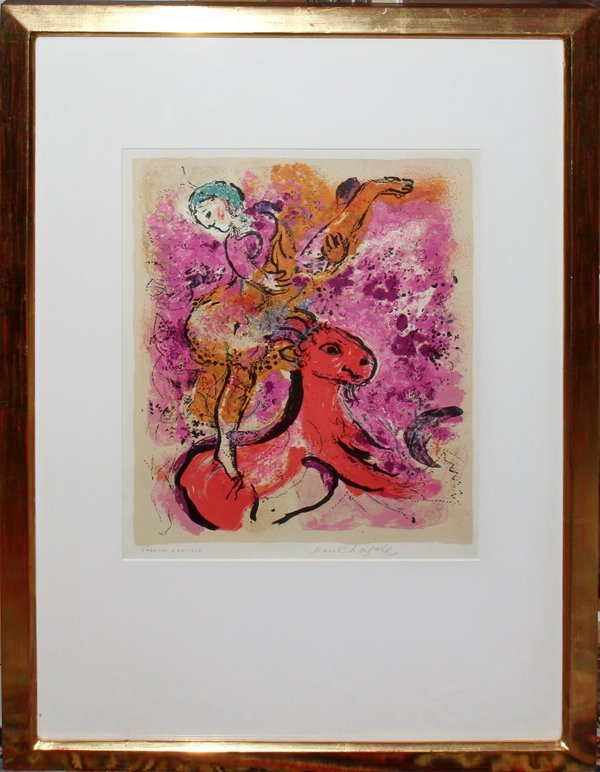 042035: MARC CHAGALL COLOR LITHO,  AU CHEVAL ROUGE""