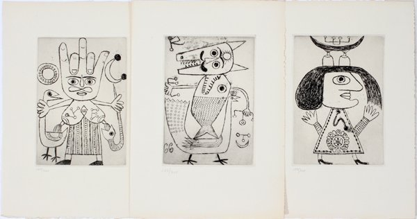 "042038: VICTOR BRAUNER  ETCHINGS, 3, ""LILITH"" & ""AZOTH"""