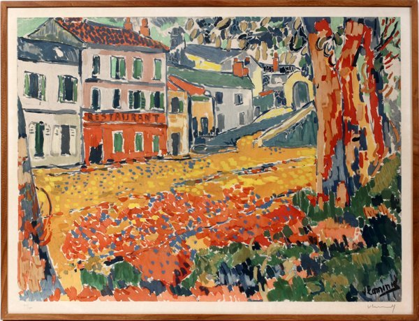 042040: MAURICE DE VLAMINCK  COLOR LITHOGRAPH,  W/TREE