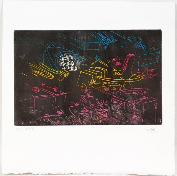 042047: ROBERTO MATTA,  ETCHING/AQUATINT, UNTITLED COMP