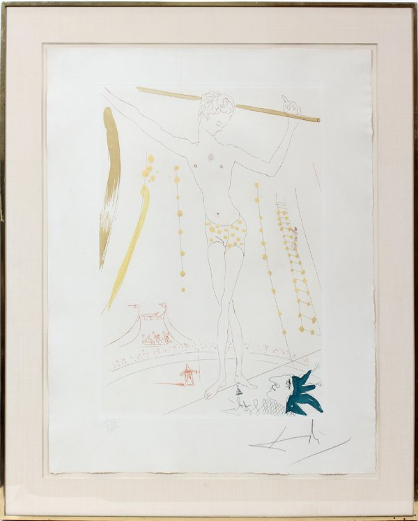 042048: SALVADOR DALI COLOR ETCHING & AQUATINT, ACROBAT