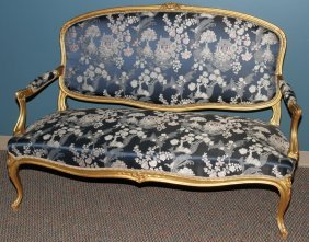 FRENCH LOUIS XV STYLE  GILT WOOD SETTEE 19TH C