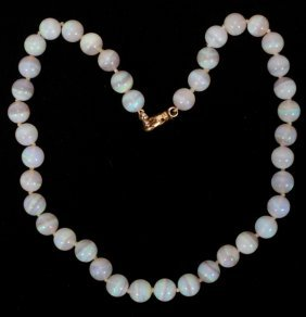 """10MM OPAL NECKLACE, 14 KT GOLD CLASP  17"""""""