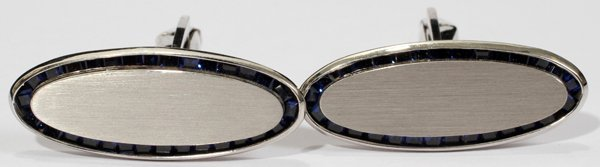 042105: LUCIEN PICCARD 14KT WHITE GOLD CUFF LINKS