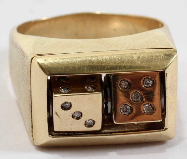 042117: MEN'S 14KT YELLOW GOLD AND DIAMOND DICE RING