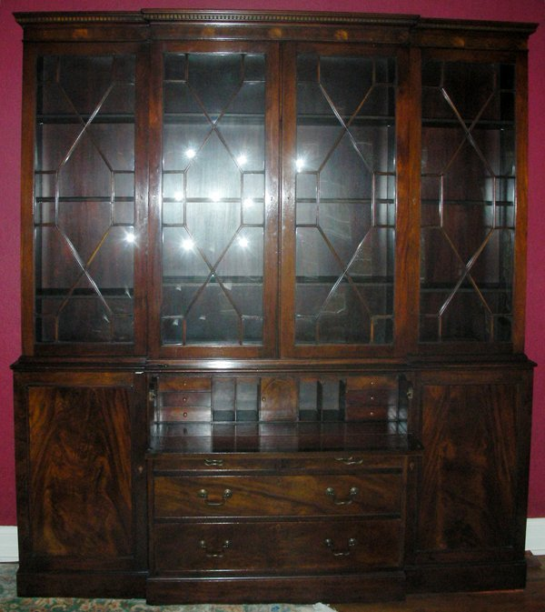 042171: BAKER FURNITURE CO. MAHOGANY BREAKFRONT 85""