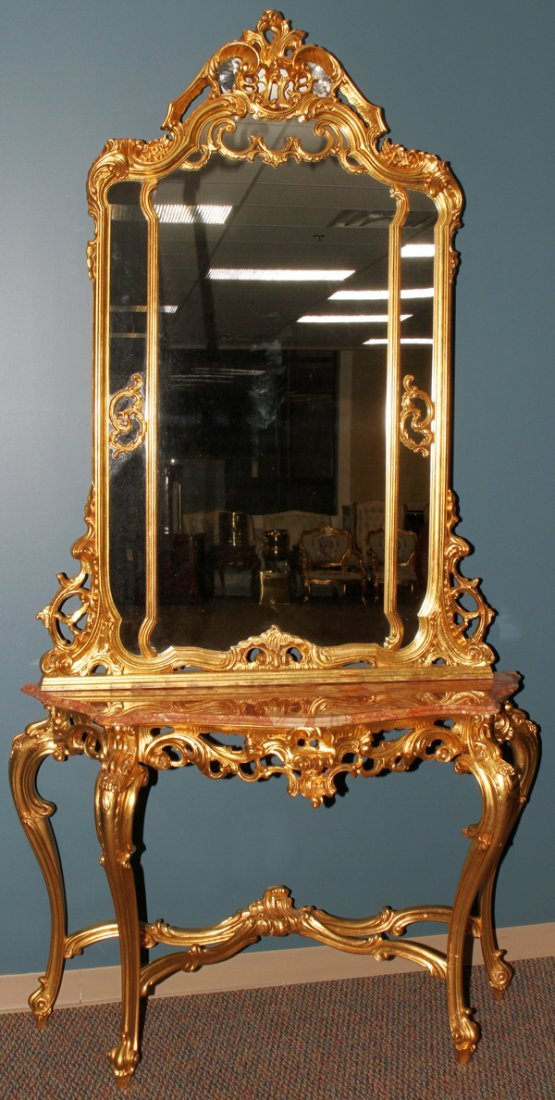 042172: GOLD LEAF WOOD & MARBLE TOP CONSOLE WITH MIRROR
