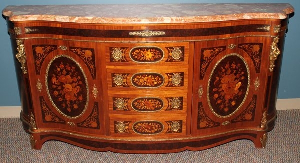 042175: MAHOGANY & FRUITWOOD INLAY MARBLE TOP SIDEBOARD