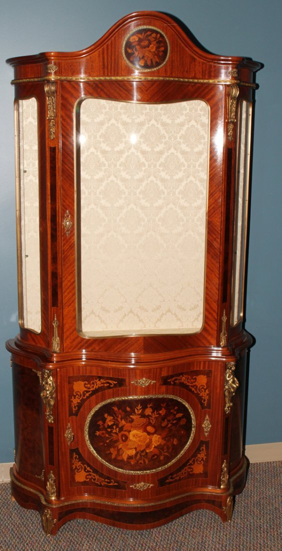 042176: MAHOGANY AND FRUITWOOD INLAY CURIO CABINET