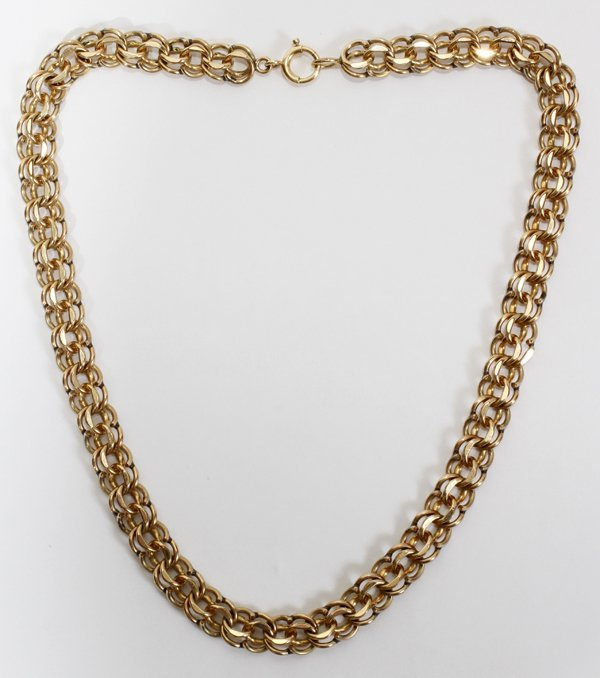 042184: YELLOW GOLD NECKLACE, 14KT & 12 KT 31 GRAMS