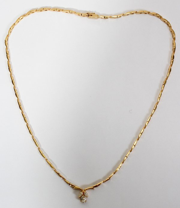 042186: 14 KT YELLOW GOLD & DIAMOND NECKLACE 16 1/2""