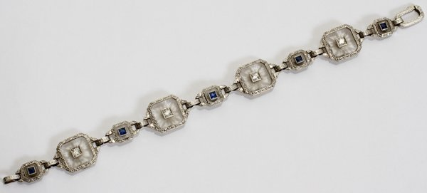 042188: ART DECO W/GOLD, DIAMOND & SAPPHIRE BRACELET