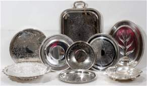 042482 SILVER PLATE TRAYS EIGHT  A SILVER PLATE