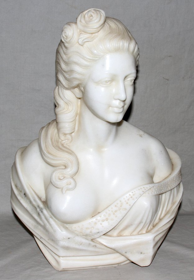 """050005: MARBLE BUST OF A WOMAN, H 18"""", W 11"""", D 5"""""""