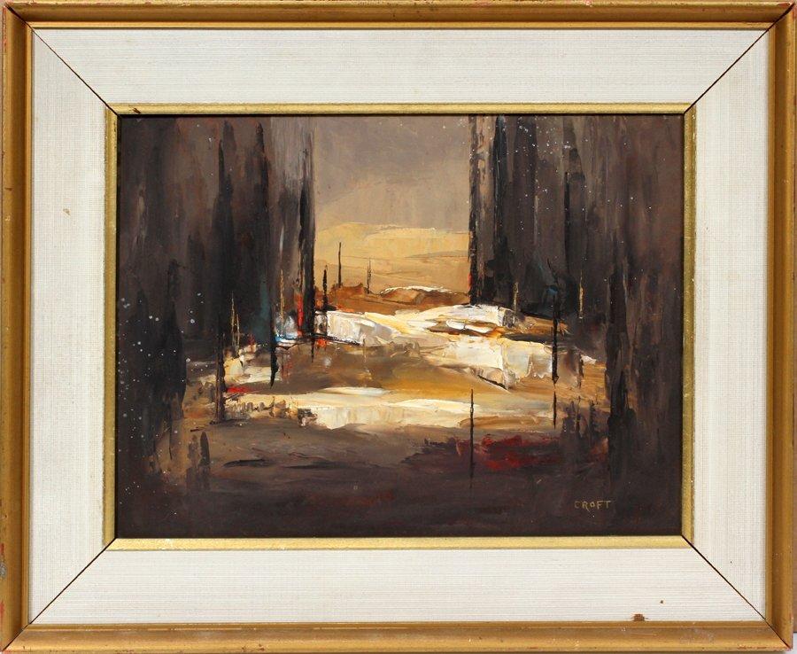 050016: LOUIS SCOTT CROFT OIL ON MASONITE, ABSTRACT