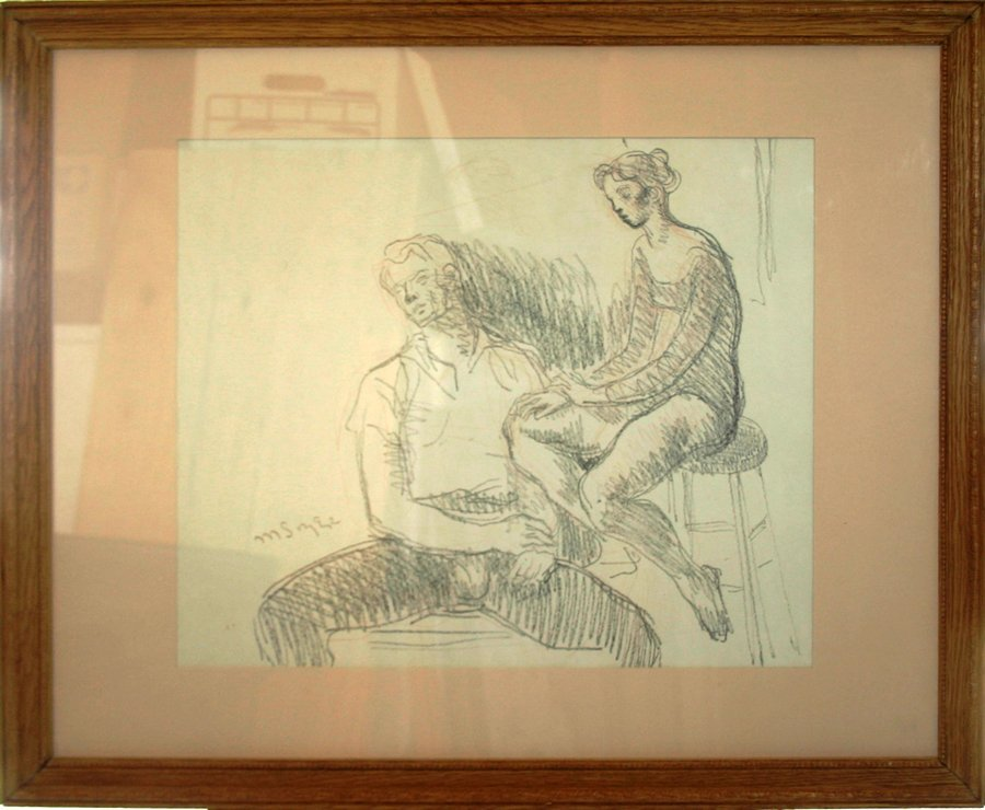 """050024: MOSES SOYER, GRAPHITE ON PAPER 16"""" X 19"""","""