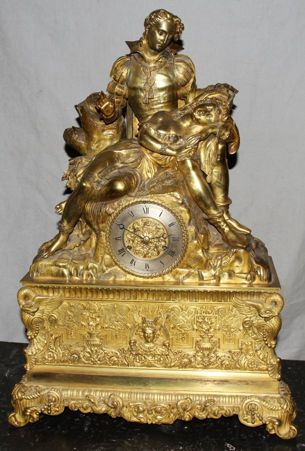 050050: FRENCH FIGURAL GILT BRONZE MANTLE CLOCK, H 27""