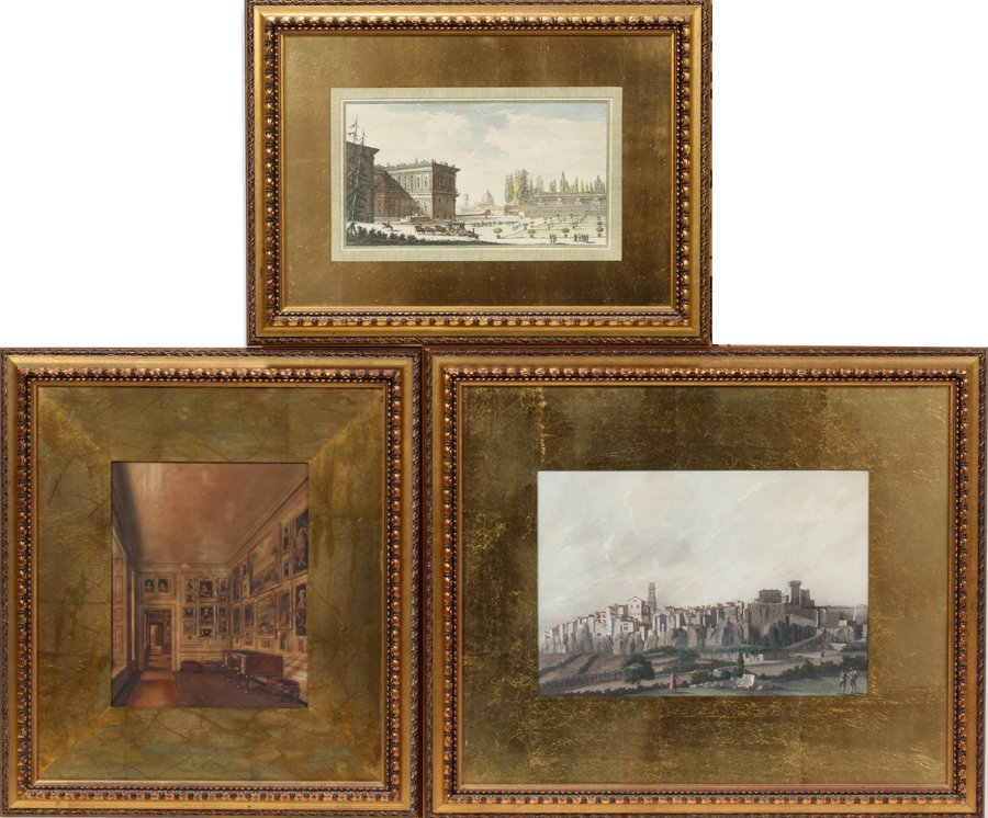 050098: HAND COLORED ETCHINGS, 3 PCS.