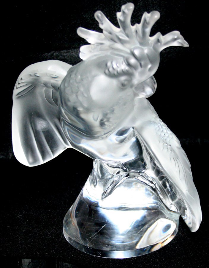 """050101: LALIQUE CRYSTAL COCKATOO, SIGNED, H 12"""""""