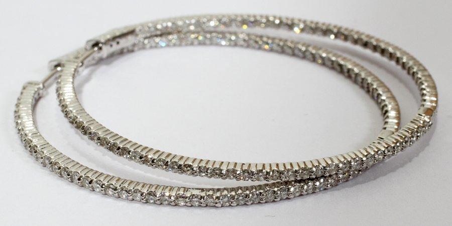 050104: 14KT WHITE GOLD & 2.50CT DIAMOND HOOP EARRINGS