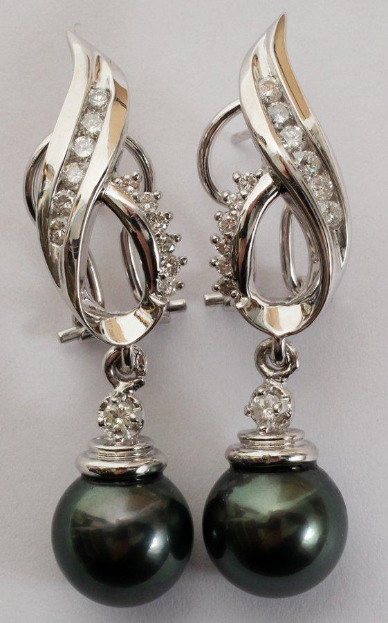 050105: 10MM TAHITIAN PEARL & .75CT DIAMOND EARRINGS