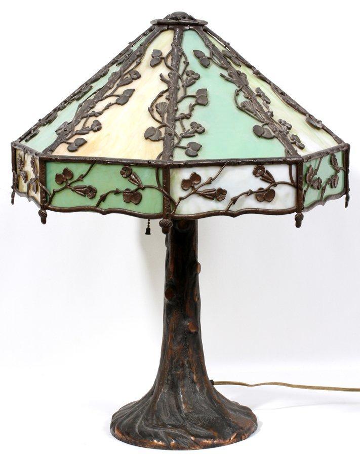050106: AMERICAN SLAG GLASS PANEL LAMP, CIRCA 1900,