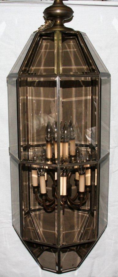 050109: GLASS AND BRASS OCTAGONAL OUTDOOR COACH LIGHT