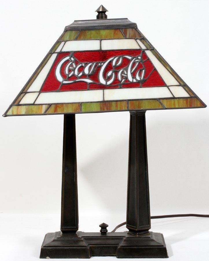 """050111: COCA-COLA LEADED GLASS LAMP H 21"""", W 10"""", L 16"""""""