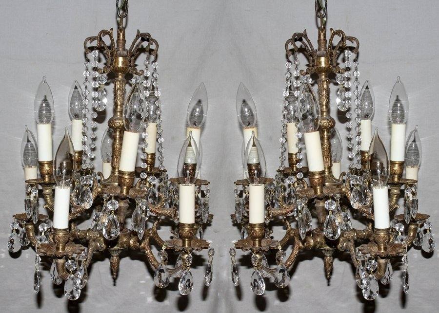 050114: FRENCH STYLE GILT METAL & CRYSTAL CHANDELIERS