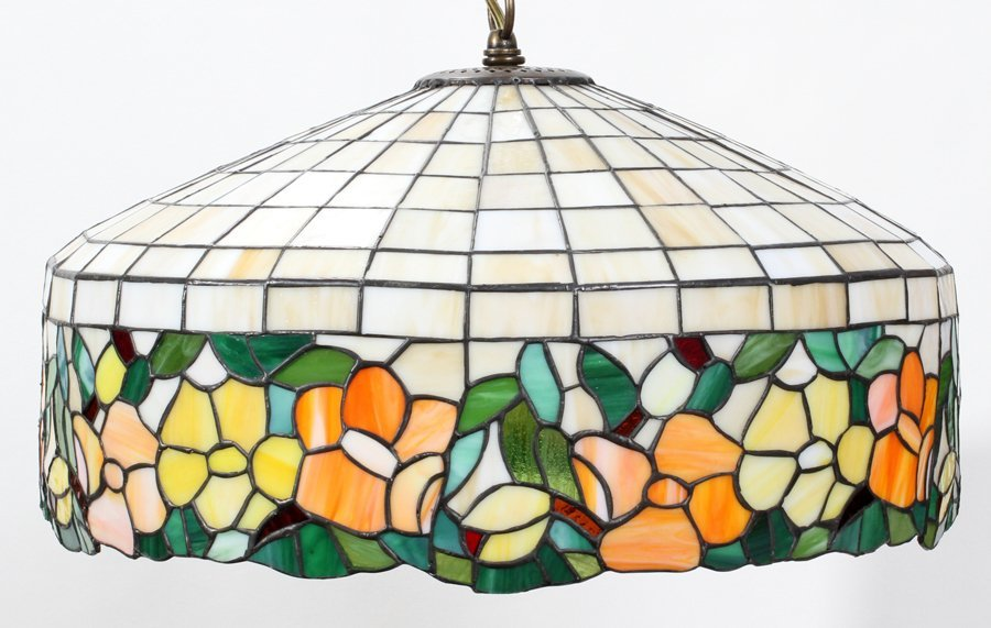 """050116: LEADED GLASS CHANDELIER, 20TH C, H 11"""", DIA 20"""""""