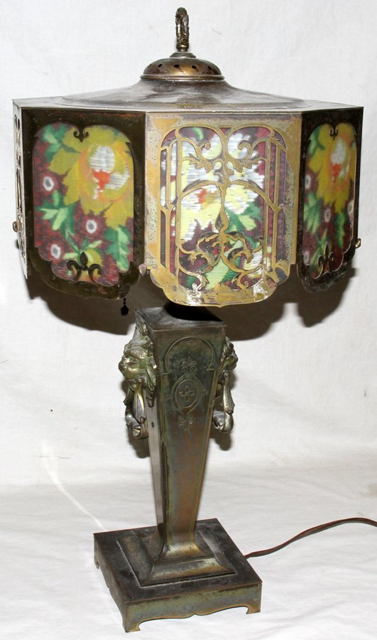 """050118: PATINATED METAL TABLE LAMP, EARLY 20TH C, H 16"""""""