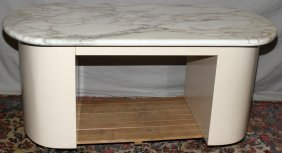 "CONTEMPORARY OVAL MARBLE TOP DESK, H 28"", L 68"""