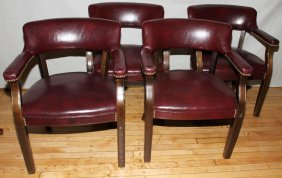 QUILL CORPORATION WALNUT & VINYL ARMCHAIRS ,4