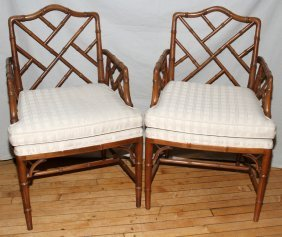 KNOB CREEK BAMBOO STYLE ARM CHAIRS, PAIR