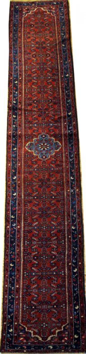 "PERSIAN HAMADAN WOOL RUNNER C1950 32"" X 16' 4"""