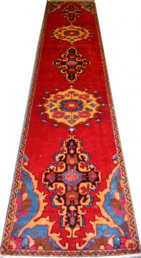 "HERIZ, WOOL PERSIAN RUNNER, C1970, 12'4"" X 2'7"""